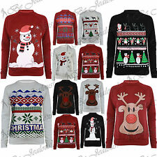Womens Ladies Santa Father Quilted Long Sleeves Christmas Tree Sweatshirt Top