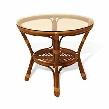 BAHAMA ROUND WICKER COFFEE TABLE WITH GLASS HANDMADE NATURAL RATTAN FURNITURE