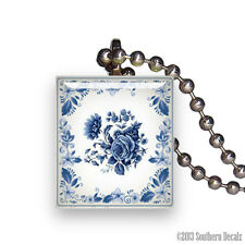Reclaimed Scrabble Tile Pendant Necklace Jewelry - Blue Delft Rose China Pattern