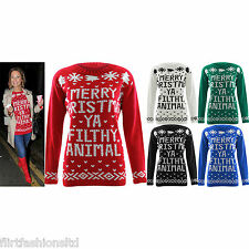Womens Christmas Jumper Ladies YA FILTHY ANIMALS Print Knitted Sweater Top