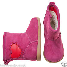Little Blue Lamb Girls Infant Hot Pink + Red Heart Toddler Boots / Shoes
