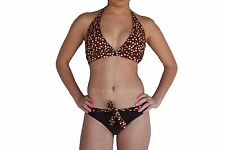 Swimwear Bathers Ladies 2pc Brown Polka Halter Neck Bikini Sz 8 10 12 14 16