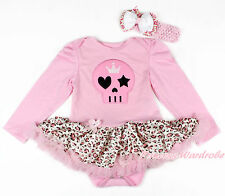 Halloween Pink Skull Long Sleeve Baby Girl Bodysuit Pink Leopard Skirt NB-18M