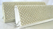 Glamorous Pearl Sparkly Crystal Diamante Clutch Bag Cream  Bridal Prom