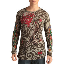 Ed Hardy Desert Sage Mens Panther Rhinestone Sweater -Brown