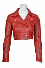Missy Ladies Short Fashion Fitted Red Biker Soft Napa Goth Leather Jacket KYLIE