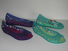 New Crocs Aisley Ballet Open Toe Flats Womens Shoes SZ 8 9 10 Purple Green