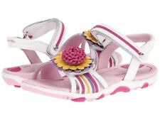 Stride Rite SRT PS Brewster Sandal shoes white pink leather floral decal sizes