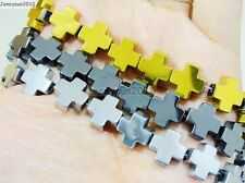 Natural Hematite Gemstone Square Cross Beads 16'' Metallic 6mm 8mm 10mm 12mm