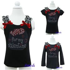 Baby Girls Wild for my Valentine Rhinestone Zebra Ruffles Black Tank Top Shirt