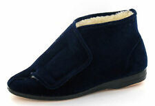 Men Navy Blue Fuir Lined Velcro Boot Slippers Albert