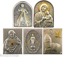 Free Standing Religious Plaques Silver and Gold Plated on Wood Five Designs