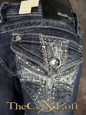 NWT Womens GRACE IN LA Bootcut Jeans with White Lace Crosses & Crystals!