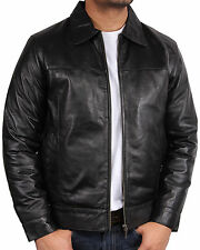 Mens Leather Biker Jacket harrington New with Tags 100% Real Leather Bomber S-5X