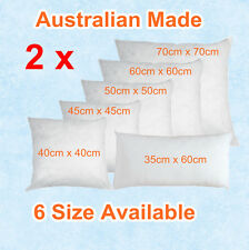 Aus Made Twin Pack CUSHION INSERTS Premium Polyester Fibre Filling