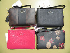 COACH Wristlet Wallet Leather Black NEW Small Purse Bag coin purse 54626 64214