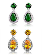 White Gold Plated/Yellow/Green/Emerald Swarovski Crystal Earring/RGE364/365