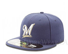 MILWAUKEE BREWERS 5950 Team Cap MLB Fitted Baseball Hat Game On Field New Era