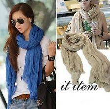 NEW Large Cotton Linen Womens Long Fold Scarf Wrap Shawl L175cm*W85cm Multicolor