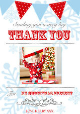 10 Personalised Christmas Greeting Thank You Gift Cards Photo Bunting Carnival