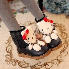 Womens Sweet Pull On Carton Cat Fur Lined Round Toes Flat Winter Snow Boots Size
