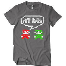 COME AT ME BRO Mens T-Shirt Funny TEE The Motto Neon Video Game Retro 8 Bit T