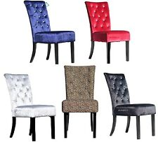 2 BLACK RED ROYAL BLUE GREY LEOPARD PRINT VELVET FABRIC DIAMANTE DINING CHAIRS
