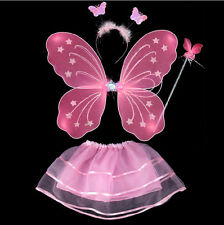 Girls Fairy Butterfly Wings Wand Fancy Dress Dance Party Costume Accessory Set