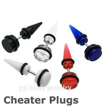 PAIR of Mini 0GA Cheater Taper (16G~1.2mm Steel Shaft ) UV Acrylic with o-rings