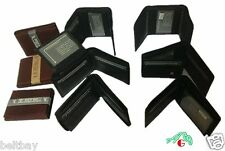 WHOLESALE LOT 6 MENS GENUINE LEATHER WALLETS BIFOLD/TRIFOLD Brown / Black $29.99