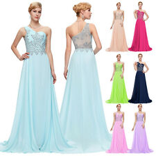 Bling One Shoulder Womens Long Bridesmaid Party Dresses Formal Evening Maxi Gown