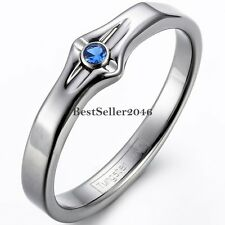 Ladies Womens Tungsten Carbide Wedding Blue CZ Grooved Engagement Promise Ring