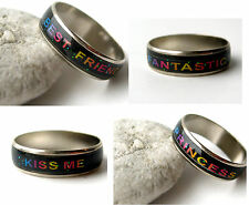 Colour Changing Ring Mood Emotion Band Ladies Girls Fashion Silver Ptd Jewellery