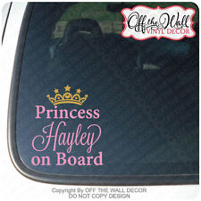 "Personalized Name Princess on Board ""BABY ON BOARD"" Vinyl Car Decal Sticker"