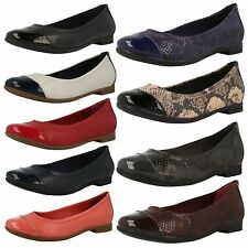 Ladies Clarks Atomic Haze Red, Black Or White/Navy Leather Ballerina Style Shoes