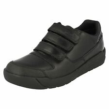 SALE BOYS CLARKS BLACK LEATHER PADDED VELCRO BACK TO SCHOOL SHOES HOLBAY GO F,G