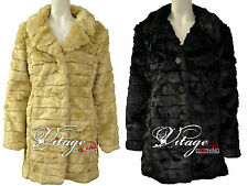 Faux Fur Coats New Womens Ladies Hairy Button Plus Size Jackets 18 20 22 24 26