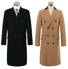 Mens Double Breasted Camel Cashmere & Wool Overcoat Velvet Collar Winter Cromby