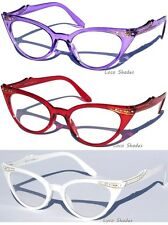 CAT EYE Clear lens Glasses With Rhinestones Retro Hipster Vintage Style Design