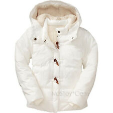 NWT Old Navy Girls White Sherpa Lined Hood Frost Free Toggle Coats Winter Jacket