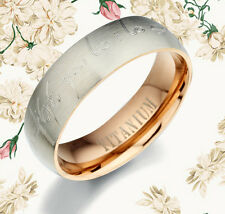 Personalized Valentines Day Gifts Rose Gold Titanium Wedding Ring BB088