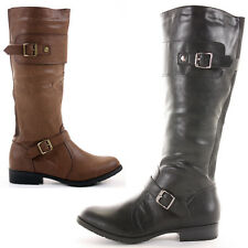 Winter Biker Riding Style Knee Low Heel Slouch Wide Calf High Knee Boots Size
