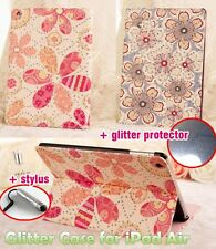 Floral Bling Glitter iPad Air 5 PU Leather Case with Diamond Glitter Protector