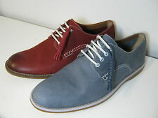 Mens Clarks Farli Walk Denim Blue Or Red Leather Smart Lace Up Shoes