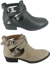 Ladies Womens Flat Buckle Faux Leather Cut Out Chelsea Ankle Boots Shoes