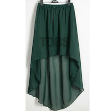 GREEN | Women Lady Chiffon Hot Sexy Asym Skirts Waist Maxi High Low Hem S~3XL