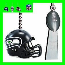 NFL SUPER BOWL XLVIII SEATTLE SEAHAWKS HELMET & LOMBARDI TROPHY CEILING FAN PULL