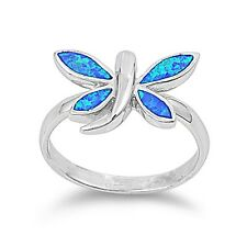 .925 Sterling Silver Blue Lab Opal Dragonfly Ring RO149