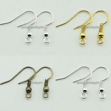200/500pcs 18mm Silver/Gold/Bronze Plated Metal Earring Wires Hooks Findings