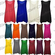 Womens Sleeveless Basic Plain Ruched Ladies Baggy Swing Flared Dress Long Top